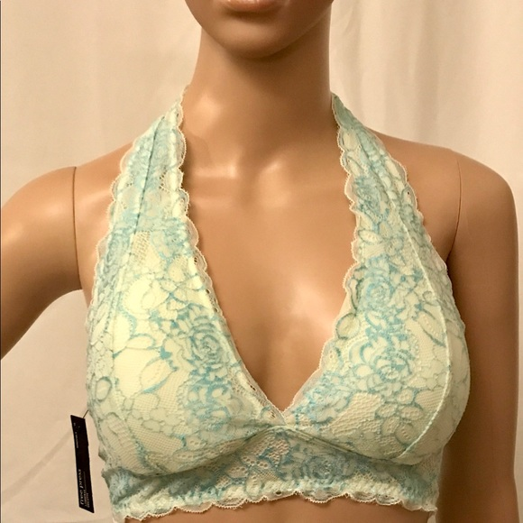 fd97958d6be7d Free Press Aqua   Seafoam Lace Halter bralette XL